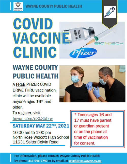 COVID Vaccine Clinic may 22 at North Rose Wolcott High School