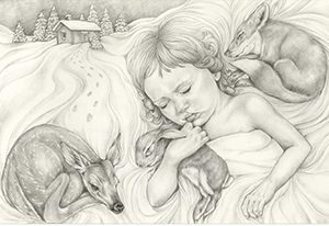 A drawing by Melissa Martin of a girl holding onto a bunny surrounded by animals in a winter scene.