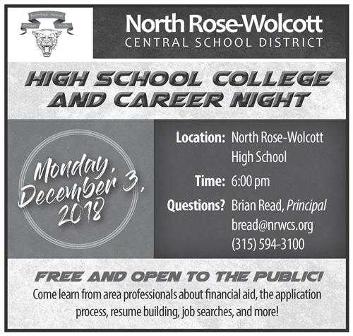 HS College and Career Night: Monday, December 3, 2018 at 6 pm