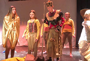 NRW middle school students rehearse a scene from the Lion King Jr.