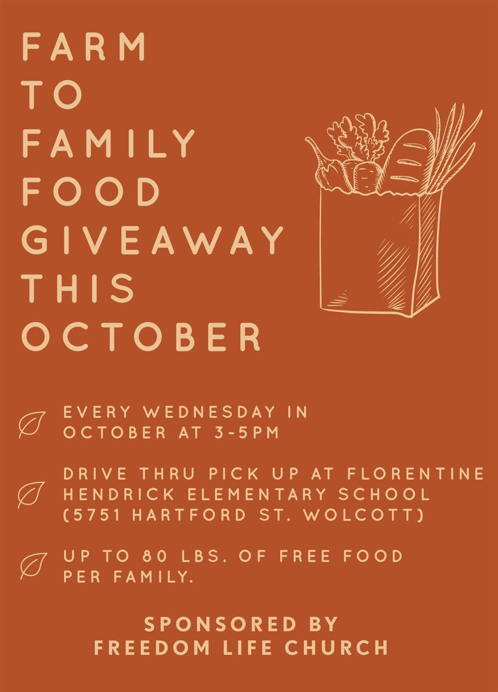 Food Giveaway - Wednesdays in October