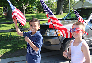 Keltin Western and James Flynn march in the NRWES Memorial Day parade.