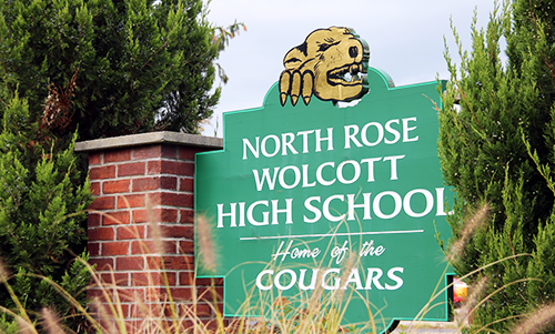 North Rose-Wolcott High School Home of the Cougars Building Sign.